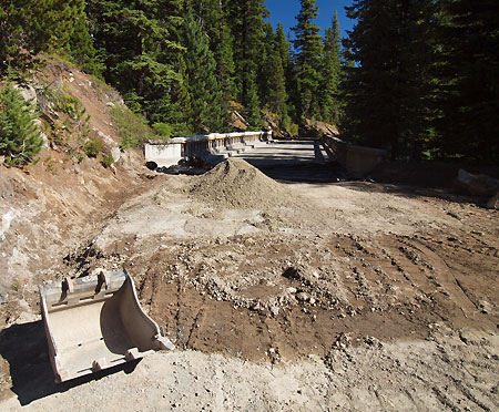 Major drainage work is underway as part of reconstructing the west bridge abutment