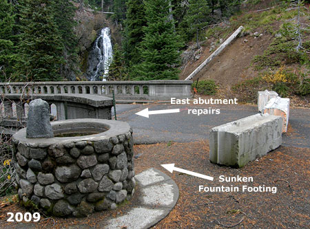 The sunken east abutment and partially sunken footing on the old fountain can be seen in this 2009 view