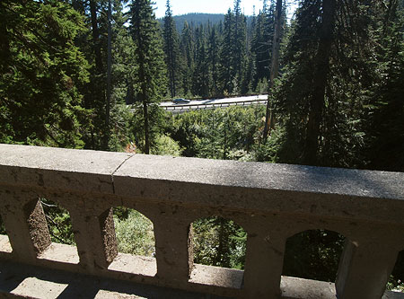 View down the East Fork to Highway 35 from the historic Sahalie Falls Bridge