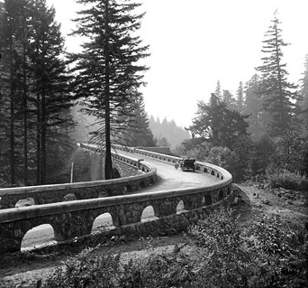 Lancaster's familiar arched walls line the approach to the Eagle Creek bridge