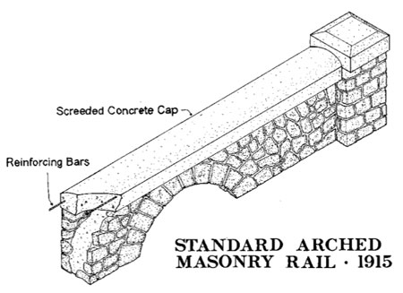 The standard arched railing found throughout the Gorge