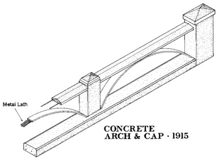 The lighter concrete arch and rail design found on viaducts and bridges