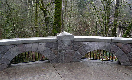 New capped arch walls were added to the Latourell Falls wayside in 2013, with a twist: painted iron bars now keep toy poodles and small children from crawling under them!