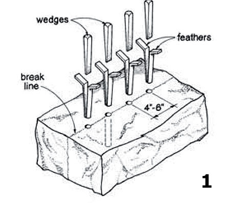 how to break basult rocks for builing a wall