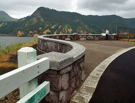 Recently completed stonework and traditional wood guardrails at the refurbished Mitchell Point Overlook