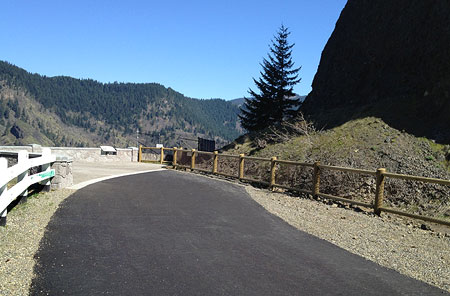 The new section of the HCRH State Trail points toward a planned bicycle and pedestrian tunnel through Mitchell Point