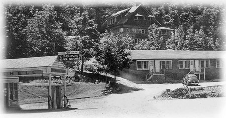 The Little Boy Ranch motel and cabins at Mitchell Point in the 1930s. The buildings were razed as part of freeway construction in the early 1960s