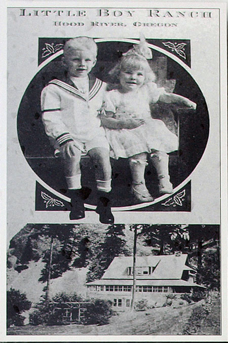 This 1920s Christmas card from Charles and Helena Parker's Little Boy Ranch featured their children, Charles Jr. and Joan