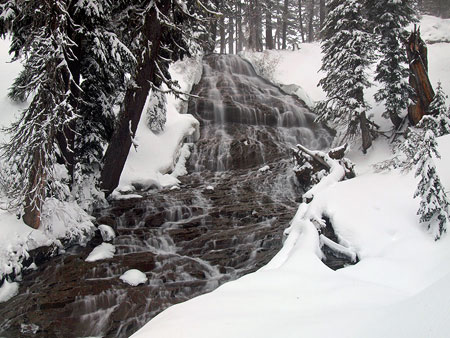 Beautiful Umbrella Falls was barely spared by the original Meadows parking lot (just a few yards beyond the trees at the top of the falls), though it still carries the burden of being in a ski area: trash and blown gravel fill the stream after the snow melts
