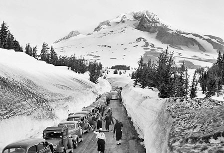 Skiers were already overflowing the Timberline parking lot in 1939, just two years after the lodge opened