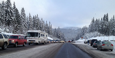 The winter weekend crush of skiers is nothing new on Mount Hood