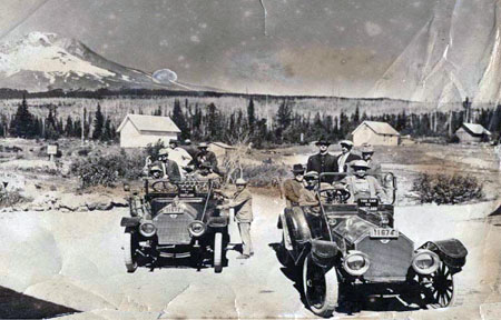 Intrepid auto tours reached Government Camp on dirt roads years before the loop highway was completed in the early 1920s