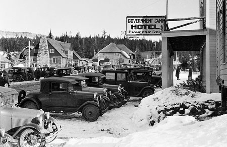 In the 1920s, Government Camp was the center of winter activity -- and overflowing with cars