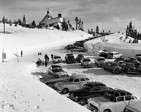 Timberline Lodge was overflowing with cars as soon as it opened in the late 1930s