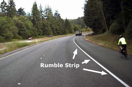 Rumble strips are very effective at keeping distracted drivers out of bike lanes, but bikes also need enough lane space to keep away from the rumble strip