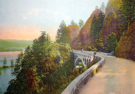 Hand-colored photo from the 1920s showing the west approach to Shepperd's Dell