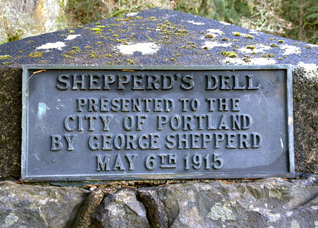 George Shepperd's sole memorial in the Columbia Gorge is this small plaque on the Shepperd's Dell bridge