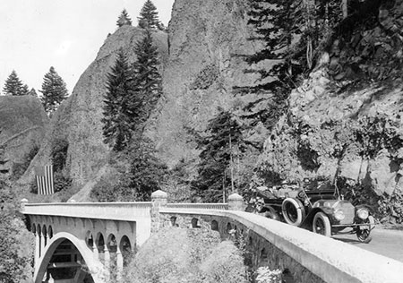 Sam Lancaster and other dignitaries are pictured here at Shepperd's Dell on the opening day of the Columbia River Highway in 1916