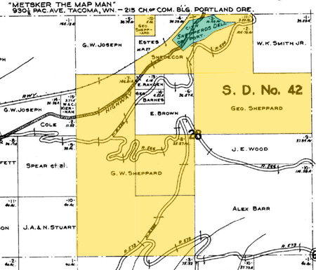 George Shepperd's extensive holdings in the early 1900s were mostly hills and ravines (shown in yellow), with the donated Shepperd's Dell parcel shown in green. Much of Shepperd's remaining land has since been brought into public ownership