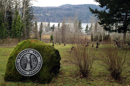 The Bridal Veil Historic Cemetery is tucked among the trees near the Angels Rest trailhead