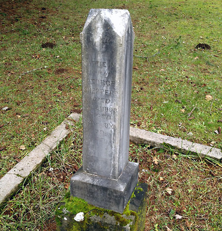 Mattie Shepperd's grave marker at the Bridal Veil Cemetery