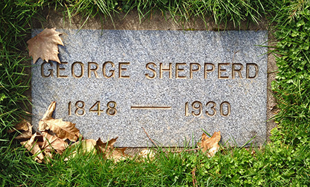 George Shepperd's modest grave marker at Riverview Cemetery.