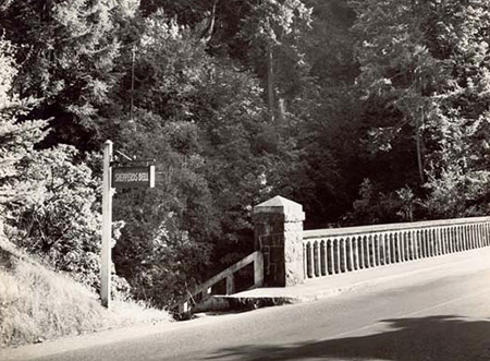 The stairs leading into Shepperd's Dell from the bridge as they appeared in the 1940s - the signpost no longer exists, though the rest of the scene is largely unchanged.