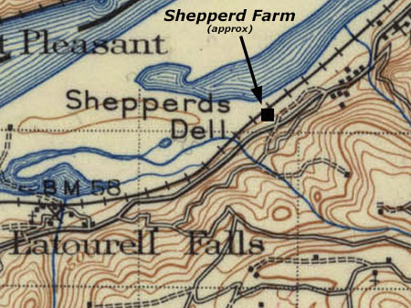Approximate location of the Shepperd Farm on an early 1900s map of the area