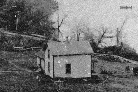 Enlarged view of the Shepperd farm house - note the rowboat in the background and railroad tracks immediately below the house (Photo courtesy Rosemary Guttridge)