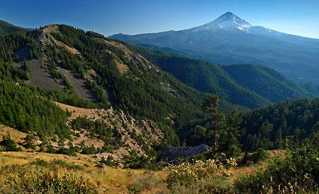 Mount Hood rises above Shellrock Mountain and Badlands Basin