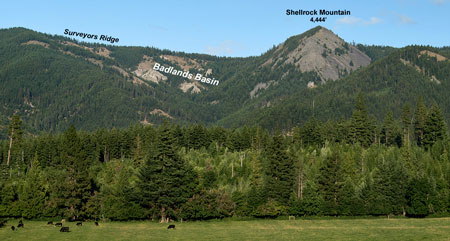 Hidden in plain sight: Shellrock Mountain is from Cooper Spur Road