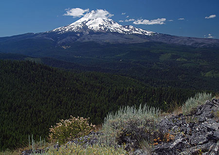 Mount Hood fills the horizon from the top of Shellrock Mountain