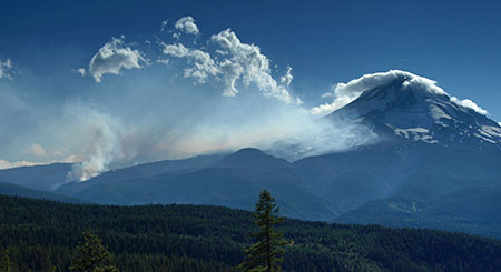 Early stages of the 2008 Gnarl Fire from near Shellrock Mountain