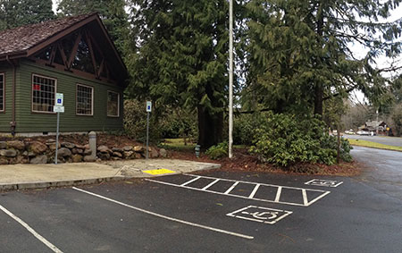 Wheelchair parking is provided close to the gazebo with ramps to both the restroom and visitor center