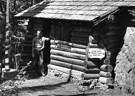 Forest Service guard on duty at the Upper Sandy station in the 1930s