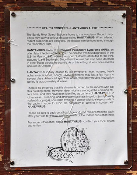 "The Forest Service has posted this ""health warning"" on the structure to discourage visitors  (Cheryl Hill © 2013)"