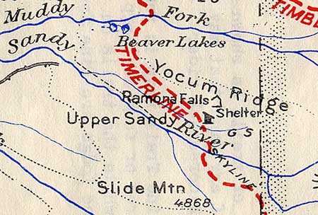 The Upper Sandy Guard Station was prominent on this 1939 map of the Timberline Trail, along with the log shelter that once stood at Ramona Falls