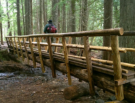 This massive new bridge over modest Ramona Creek was built in 2012 inside the Mount Hood Wilderness, less than a mile from the Upper Sandy Guard Station.