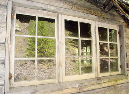 These original windows on the guard station were intact as recently as 2008