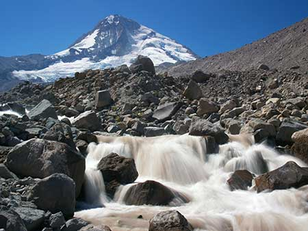Eliot Branch and Mount Hood before the 2006 washout