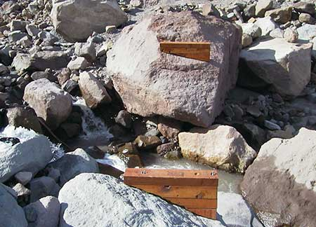 These seasonable bridge footings were bolted to a pair of huge boulders that were swept away in the 2006 washout
