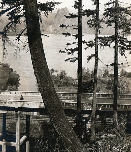 Beacon Rock and the McCord Creek Bridge as they appeared from the original CCC trail to Elowah Falls
