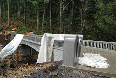The new Historic Columbia River Highway state trail bridge at McCord Creek under construction in 2012