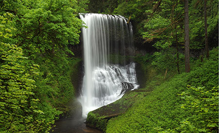 May features the famous Middle North Falls on Silver Creek
