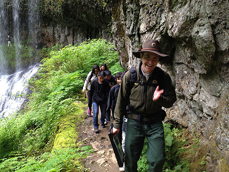 Trail ranger leading a kids hike at Silver Creek -- how very cool!
