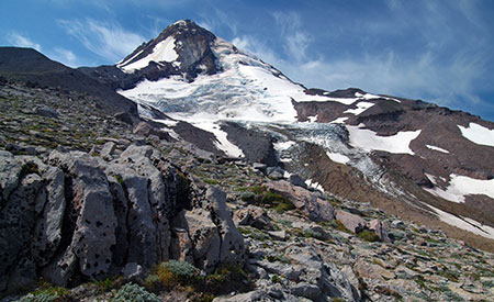 August features the Eliot Glacier on Mount Hood's north flank