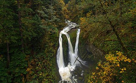 November features a swollen Triple Falls on Oneonta Creek