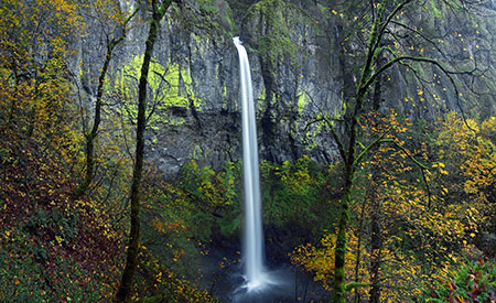 December features a wide pano of Elowah Falls on McCord Creek