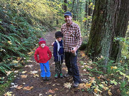 Jamie and his rugged boys hitting the trail at McCord Creek