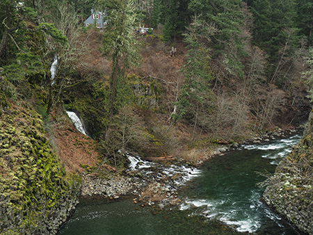 Downstream view from above the Punchbowl to Dead Point Falls